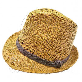 Mens' Two Woven Pattern Fedora Straw Hat w/ Brown Band (Dark Khaki)