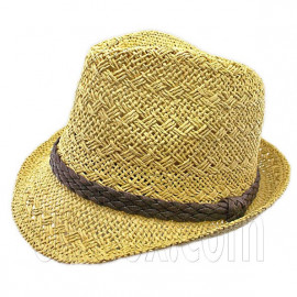 Mens' Two Woven Pattern Fedora Straw Hat w/ Brown Band (Khaki)