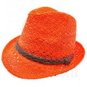 Mens' Two Woven Pattern Fedora Straw Hat w/ Brown Band (Orange)