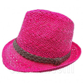 Mens' Two Woven Pattern Fedora Straw Hat w/ Brown Band (Hot Pink)