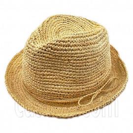 Crocheted Women's Raffia Straw Hat w/ Cord Band Bow