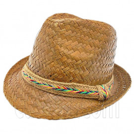 Unisex's Natural Woven Straw Hat w/ Rainbow Code Band