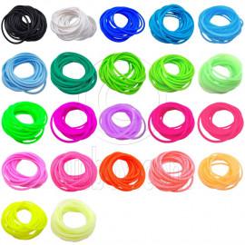 22 pcs Colorful Silicone Elastic Bracelet Black Pink Blue Green Fluorescent