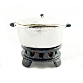 Chinese Steel Metal Stove Pot Set Dollhouse Miniature
