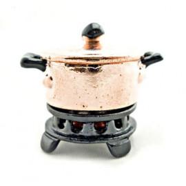 Chinese Copper Metal Stove Pot Set Dollhouse Miniature