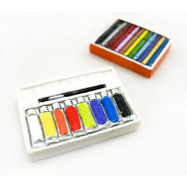 Box Set of 2 Color Paint Brush Art Dollhouse Miniature