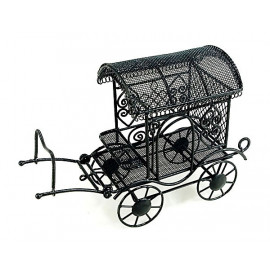Black Amish Buggy Jaunting Horse Dollhouse Miniature