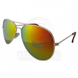 Designer Aviator Anti-Reflective Sunglasses UV400 Full Sunset Mirror Gold Frame
