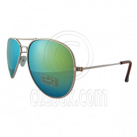 Designer Aviator Anti-Reflective Sunglasses UV400 Full Blue Mirror Gold Frame