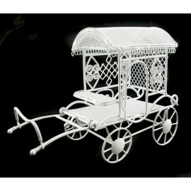 White Wire Amish Buggy Horse Trolly Dollhouse Miniature