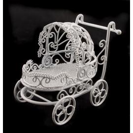 White Wire Nursery Baby Strollers Dollhouse Miniature