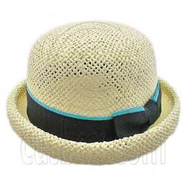 Unisex's Woven Straw Dome Shaped Hat w/ Ribbon Headband (BEIGE)