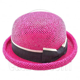 Unisex's Woven Straw Dome Shaped Hat w/ Ribbon Headband (HOT PINK)