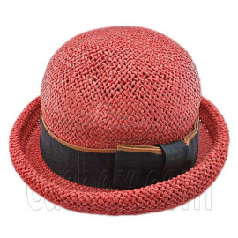 Unisex's Woven Straw Dome Shaped Hat w/ Ribbon Headband (REDDISH BROWN)