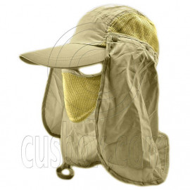 Long Neck Flap /w Face Mask Mesh Cap Hat Fishing Hiking (KHAKI GREEN)