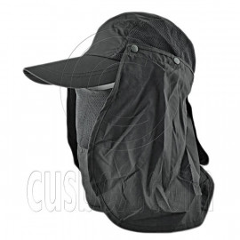Long Neck Flap /w Face Mask Mesh Cap Hat Fishing Hiking (BLACK)