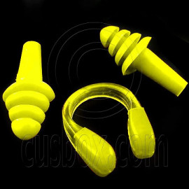 Swimming Nose Clip and Ear Plug Earplug (YELLOW)