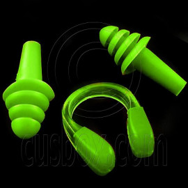 Swimming Nose Clip and Ear Plug Earplug (GREEN)