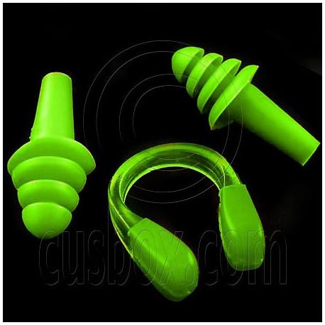 Swimming Nose Clip and Ear Plug Earplug (GREEN)