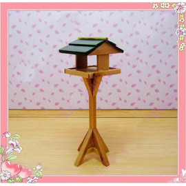 Wooden House of Bird Table w Roof Dollhouse Miniature