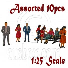 LotSet 10 Sitting Standing People Figure Painted War RR Train Model 1:24 1:25