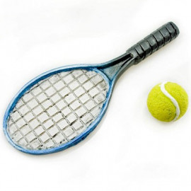 Tennis Racket w Ball Sports Game Dollhouse Miniature