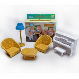 Set Piano Sofa Lamp for Sylvanian Families Furryville Calico Critters Dolls 1:16