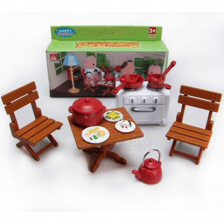 Chair Stove Dishes for Sylvanian Families Furryville Calico
