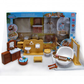 Bathroom Bathtub Full Set for Sylvanian Families Furryville Calico Critters Doll