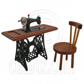 Vintage Black Sewing Machine + Chair 1/12 Doll's House Dollhouse Miniature MIB