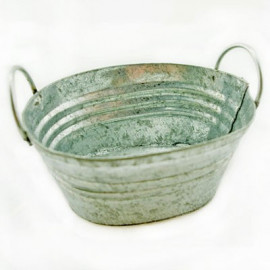 Zinc Metal Oval Water Bucket Pail Dollhouse Miniature