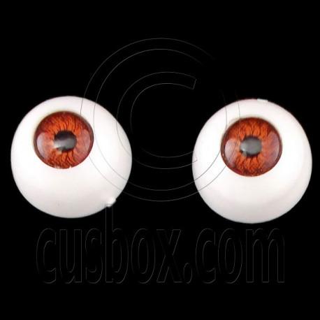 Red Brown Pair Doll Eyes Ball Half Round Acrylic Dolls Eye 10mm for BJD Dollfie