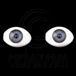 Antique Blue Pair Oval Doll Eyes Half Round Acrylic Dolls Eye 14mm Iris Dia 6mm