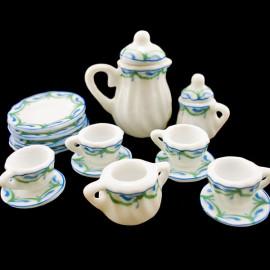 Porcelain Tea Pot Kettle Set Dollhouse Miniature 11pcs
