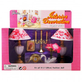 Table Lamp Swan Vase Candle Clock Play Set 1/6 for Barbie Ken Monster High MIB