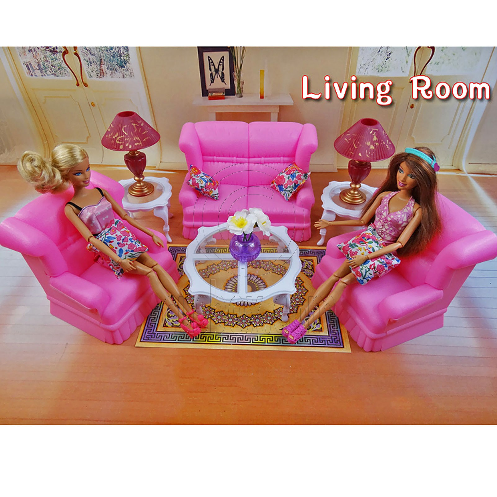 Living Room Sofa Table Lamp Furniture Play Set for Barbie Monster