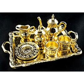 Gold Metal Tea Lid Pot Cups Set Dollhouse Miniature