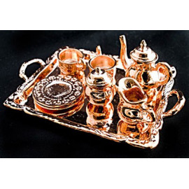 Copper Metal Tea Lid Pot Cups Set Dollhouse Miniature