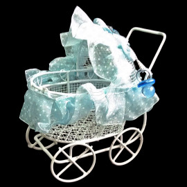 White Blue Wire Nursery Baby Stroller Pram 1:12 Doll's House Dollhouse Furniture