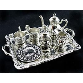 Silver Metal Tea Lid Pot Cups Set Dollhouse Miniature