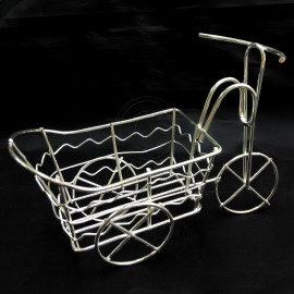 Silver Wire Rickshaw Trolley Wheel Car 1:16 Doll's House Dollhouse Miniature