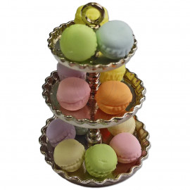 Silver Metal 3-Tiers Tiered Cake Stand with 14 Macarons 1/12 Dollhouse Miniature