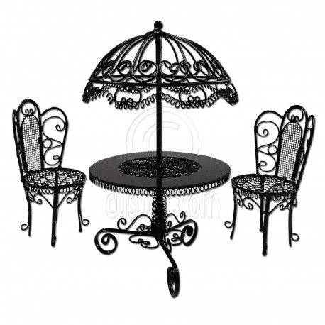 Black Wire Garden Umbrella Table Chair 1:12 Doll\'s House Dollhouse ...