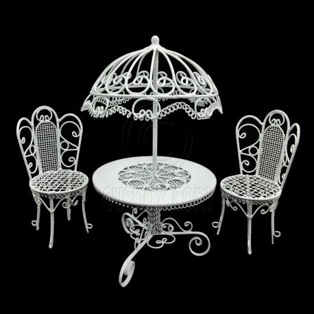 White Wire Garden Umbrella Table Chair 1:12 Doll\'s House Dollhouse ...