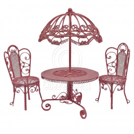 Set Pink Wire Garden Umbrella Table Chair 1:12 Doll's House Dollhouse Furniture