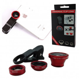 3 In 1 Lens Clip Selfie Kit Macro Wide Angle Fish Eye Set for Mobile Phone MIB