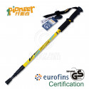 PIONEER Anti-Shock Trekking Pole 65-135cm 3-Section 6061 Aluminum Alloy - Single - YELLOW