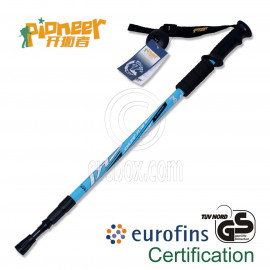 PIONEER Anti-Shock Trekking Pole 65-135cm 3-Section 6061 Aluminum Alloy - Single - BLUE