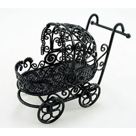 Black Wire Nursery Baby Strollers Dollhouse Miniature
