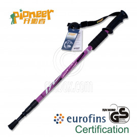 PIONEER Anti-Shock Trekking Pole 65-135cm 3-Section 6061 Aluminum Alloy - Single - PURPLE